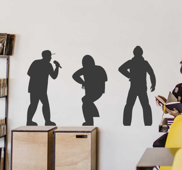 TENSTICKERS. ラップシンガーシェードシルエットウォールステッカー. 3つのラップ歌手の装飾的な家の壁のステッカーデザインシルエット。さまざまなサイズと色でご利用いただけます。簡単に適用できます。