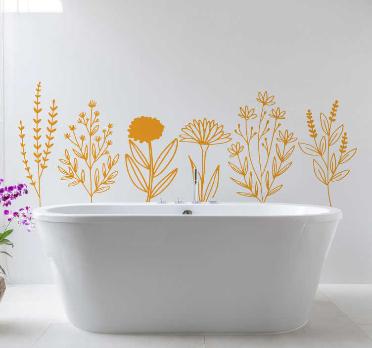TenStickers. Yellow plant flower wall decal. Decorative home wall sticker for bathroom with the design of ornamental flower.  Available in different colour and sizes.