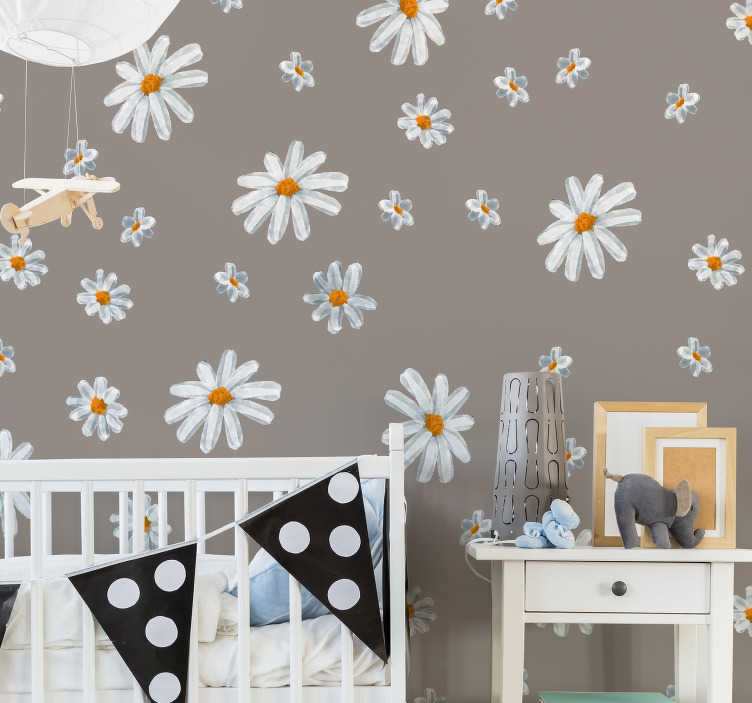 TenStickers. 70's daisy pattern sheet flower wall decor. Decorative home wall sticker with the design of daisy flowers prints. Beautify any space with it to create the atmosphere of flower fall.