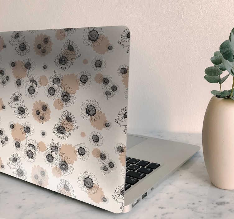 TENSTICKERS. 手描きのデイジーラップトップスキン. 手描きのヴィンテージのデイジーの花のデザインのフルカバーラップトップビニールステッカー。ノートパソコンのあらゆるサイズのインチでカスタマイズ可能。簡単に適用できます。