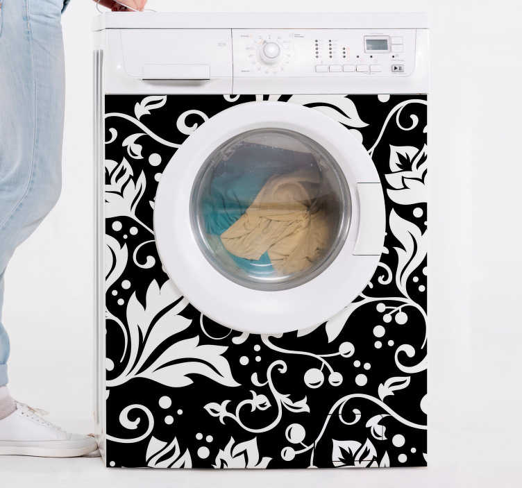 TenStickers. Floral for washing machine appliance decals. Decorative appliance vinyl decal for washing machine with the design of an ornamental textural flower print. Available in any required size.