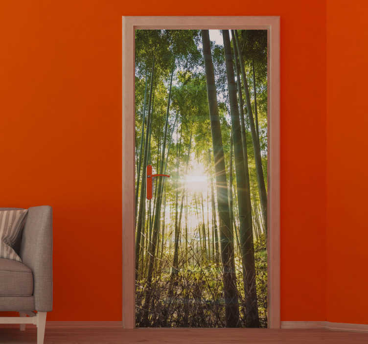 TenStickers. Forest with flash glass door sticker. Decorative door vinyl sticker with the design of a thick forest with appearance of sun ray in  3D visual effect. Available in any required size.