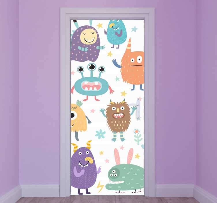 TenStickers. Happy monster glass door decal. Creative monster door sticker with different happy monsters to decorate a door space for children. Available in any required size.