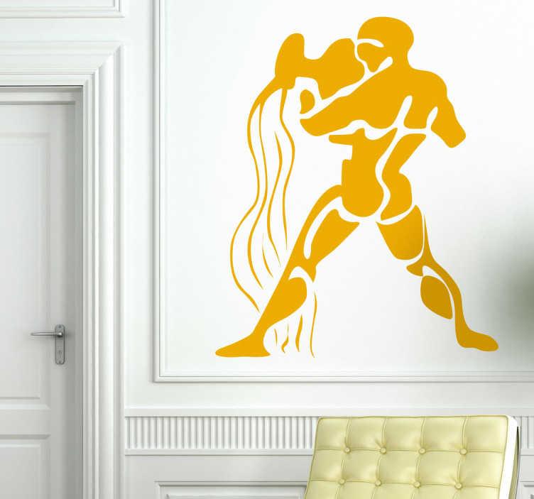 TenStickers. Naklejka dekoracyjna wodnik. Naklejka na ścianę przedstawiająca znak zodiaku: wodnik. Jeśli jest to Twój znak, udekoruj nim swój ulubiony pokój.