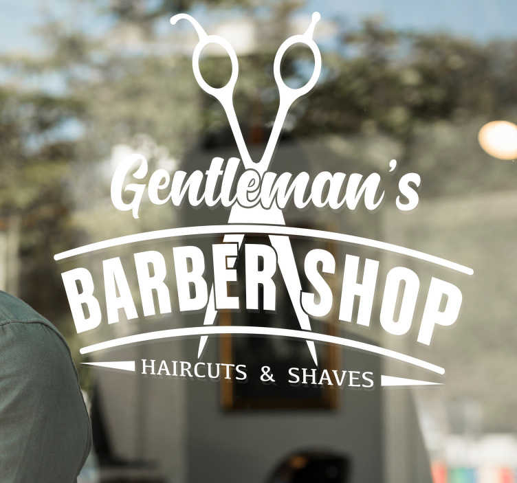 TenStickers. Barber showcase with scissors wall decal. Decorative barber showcase business sticker  with the design of barbing scissors and text. Available in different colour and size. Easy to apply.