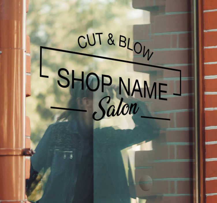 TenStickers. Beauty salon showcase  decal. Decorative beauty saloon showcase sticker to place on a front window surface in your own customized text. Available in different colour and size.