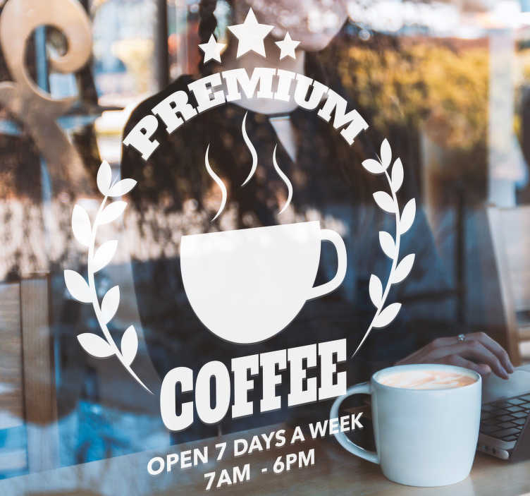 TenStickers. Coffees showcase customisable service decal. Coffee front shop window sticker decoration with customization text content. Provide the text required for the design to place on your business place.