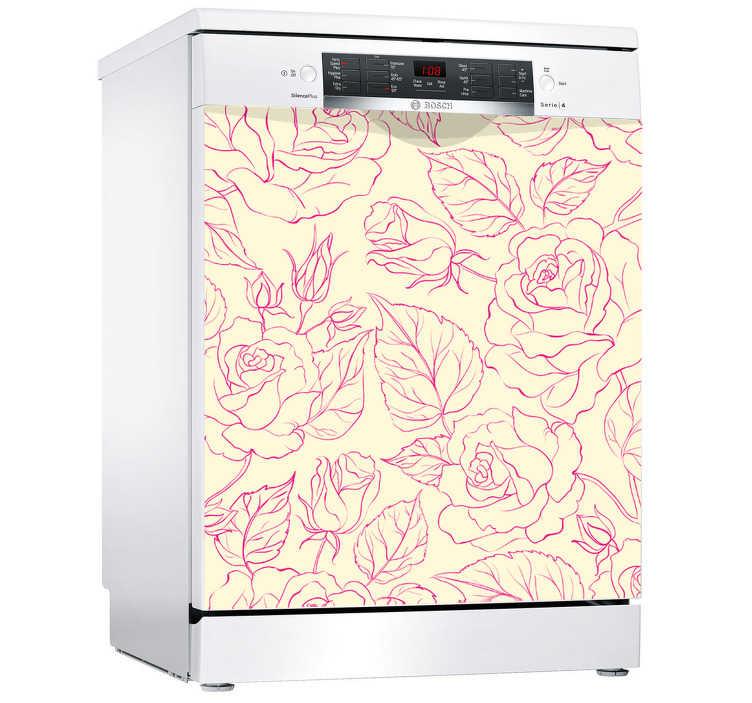 TenVinilo. Vinilo adhesivo para lavavajillas con rosas. Vinilo decorativo de rosas con fondo hermoso para lavavajillas. Decore su cocina de forma exclusiva por un módico precio ¡Medidas personalizables!