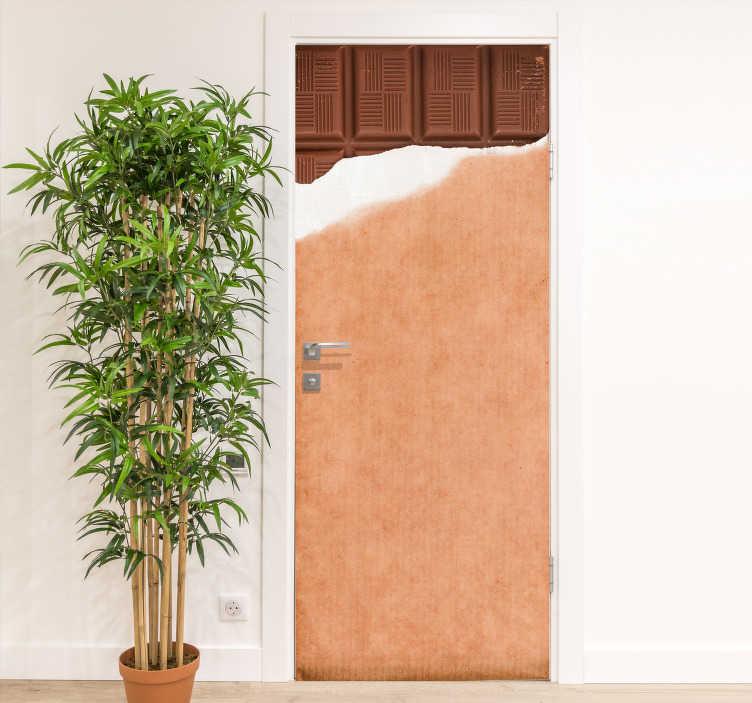 Tenstickers. Avoin suklaabaarin lasioven tarra. Suklaabaarin oven tarra, joka koristaa oven hauskalla ja makealla tavalla. Sen pakkauksessa on avattu suklaa. Saatavana missä tahansa koossa.
