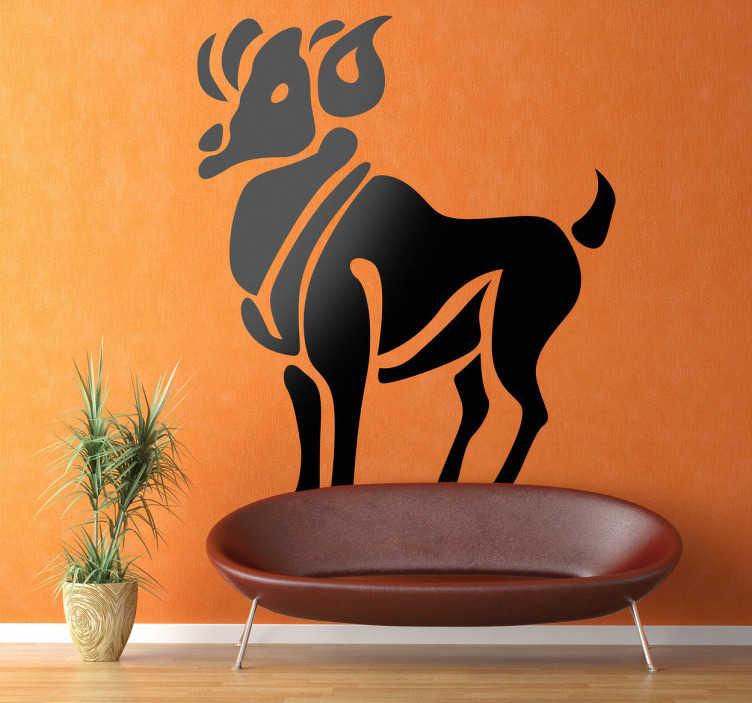 TenStickers. Horoskop Widder Aufkleber. Das Wandtattoo stellt das komplette Tier des Sternzeichens Widder dar und kann so Ihr Zuhause individuell und einzigartig gestalten.
