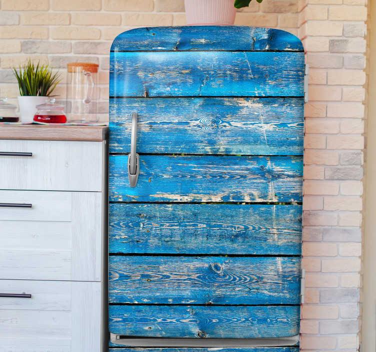 TenStickers. Sticker della pellicola del frigorifero di struttura di legno blu. Adesivo decorativo per porta del frigorifero creato con il disegno della struttura in legno blu. Facile da applicare e disponibile in qualsiasi dimensione richiesta.