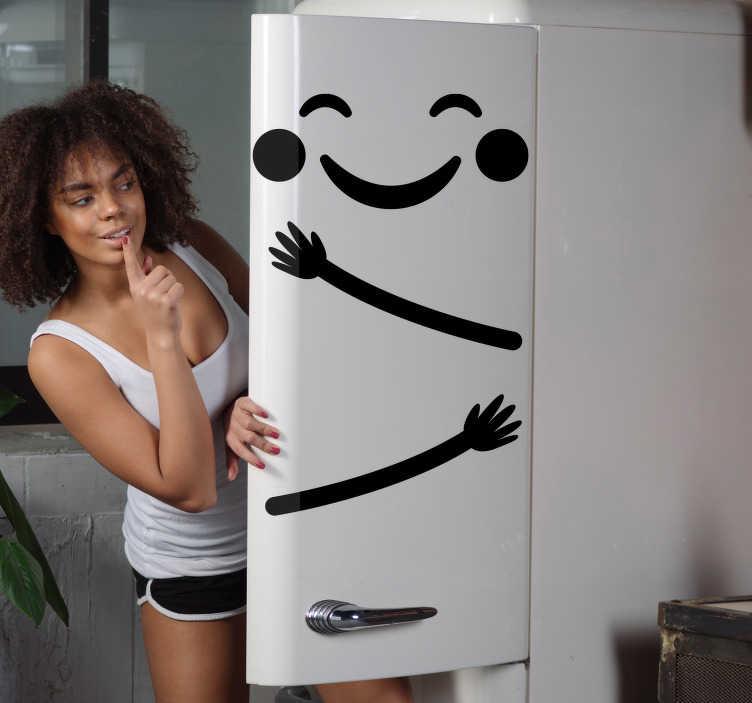 Tenstickers. Onnellinen emoji tyydyttynyt jääkaappi kääri. Koristeellinen jääkaappitarra, jossa on onnellinen ja hauska hymiö. Saatavana erivärisinä ja -kokoisina. Helppo levittää ja itseliimautuva.