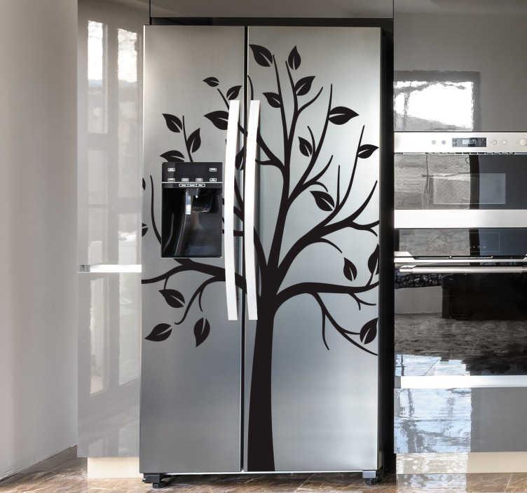 Tenstickers. Puu ohut oksat jääkaappi kääri. Jääkaapin ovetarra puun siluettirakenteen kanssa. Saatavana erikokoisina ja -värisinä. Helppo levittää.