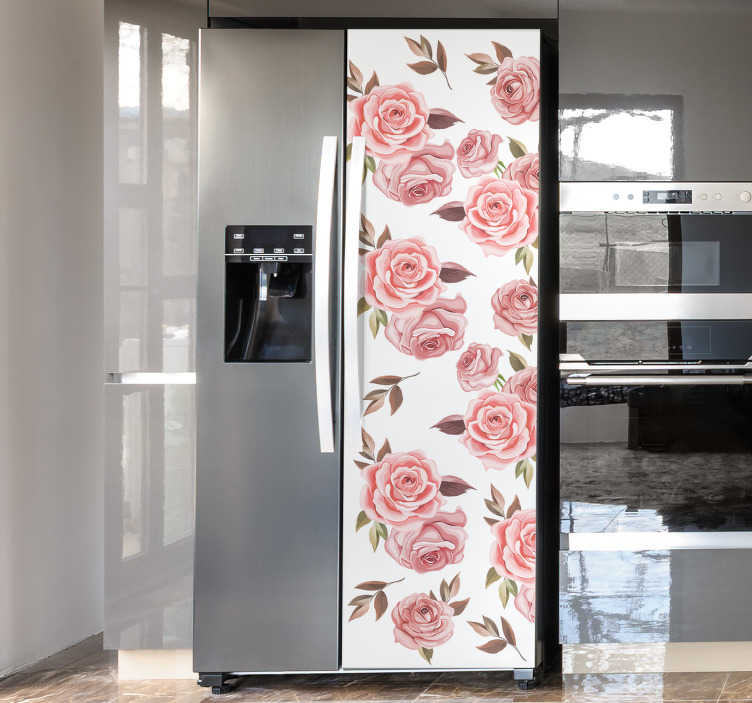 TenStickers. Pink roses fridge wrapdecal. Buy our decorative fridge vinyl sticker with rose flower design to wrap the surface of a fridge in the kitchen in beauty. Easy to apply.