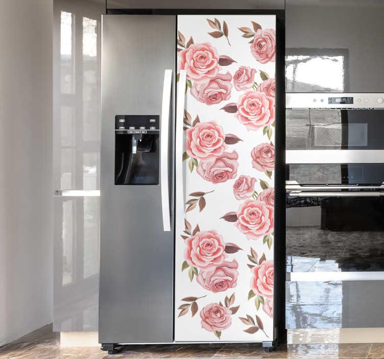 TENSTICKERS. ピンクのバラ冷蔵庫ラップデカール. バラの花のデザインが施された装飾的な冷蔵庫用ビニールステッカーを購入して、キッチンの冷蔵庫の表面を美しく包みます。簡単に適用できます。