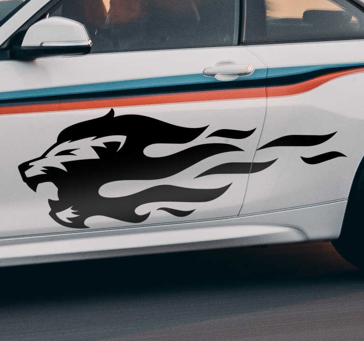 TenStickers. Lion with fire flames Car Decal. Decorative car vinyl sticker with the design of a lion's head with fire flame. Available in different colours and sizes. Easy to apply.