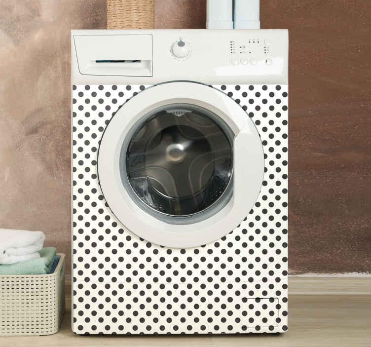 Tenstickers. Pesukonelaitteiden tarrat. Koristeellinen pesukonelaatta, jossa on polkapisteitä. Helppo levittää eikä kosteus vaikuta, helppo ylläpitää.
