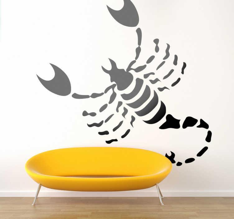 TenStickers. Naklejka znak zodiaku skorpion. Naklejka na ścianę przedstawiająca groźnego skorpiona z dużymi szczypcami. Dla wszystkich którzy urodzili się w październiku oraz w listopadzie.