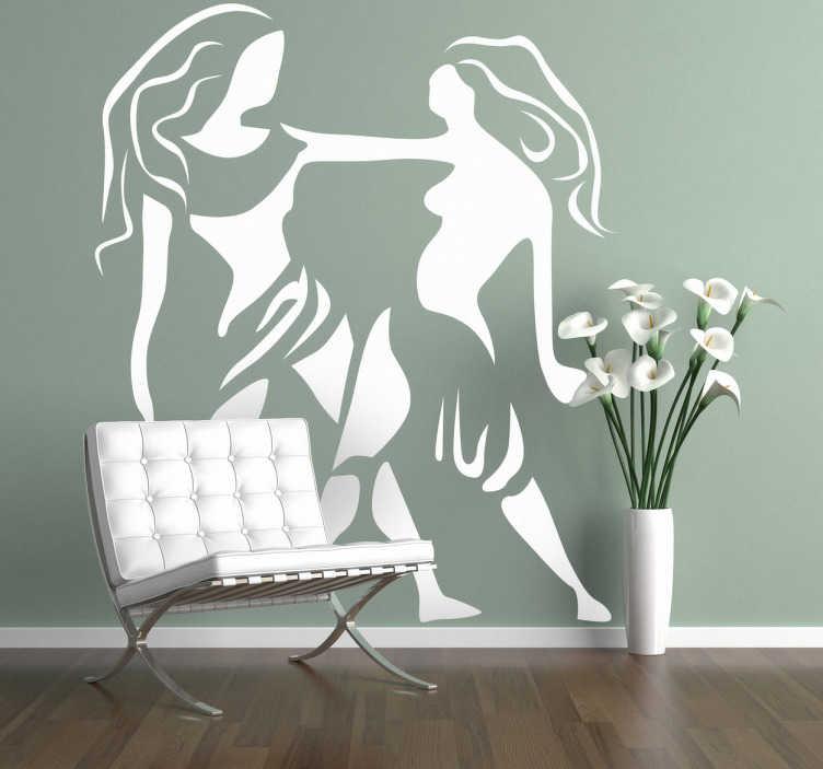 TenStickers. Naklejka znak zodiaku bliźnięta. Naklejka na ścianę z trzecim znakiem astrologicznym zodiaku: bliźnięta. Jeśli jest to Twój znak w horoskopie udekoruj wybrany pokój naszą wyjątkowa naklejką.