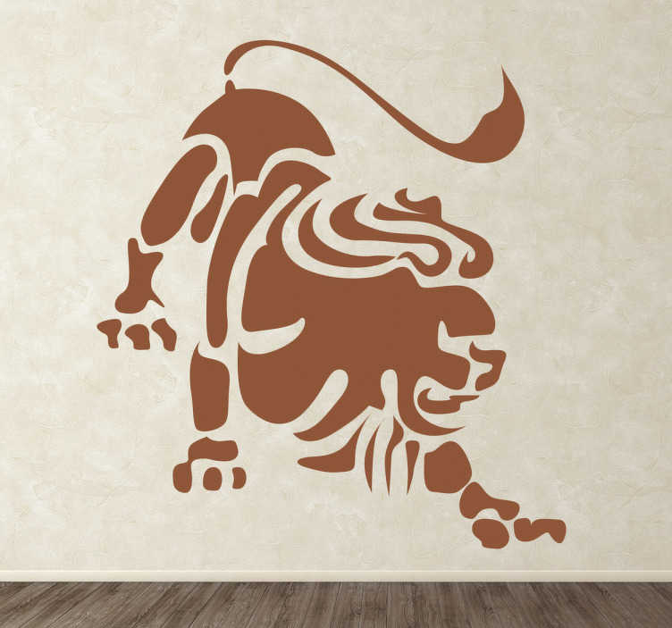 TenStickers. Naklejka znak zodiaku lew. Naklejka dekoracyjna na ścianę z piątym znakiem astrologicznym zodiaku. Obrazek reprezentuje silnego króla zwierząt lwa.