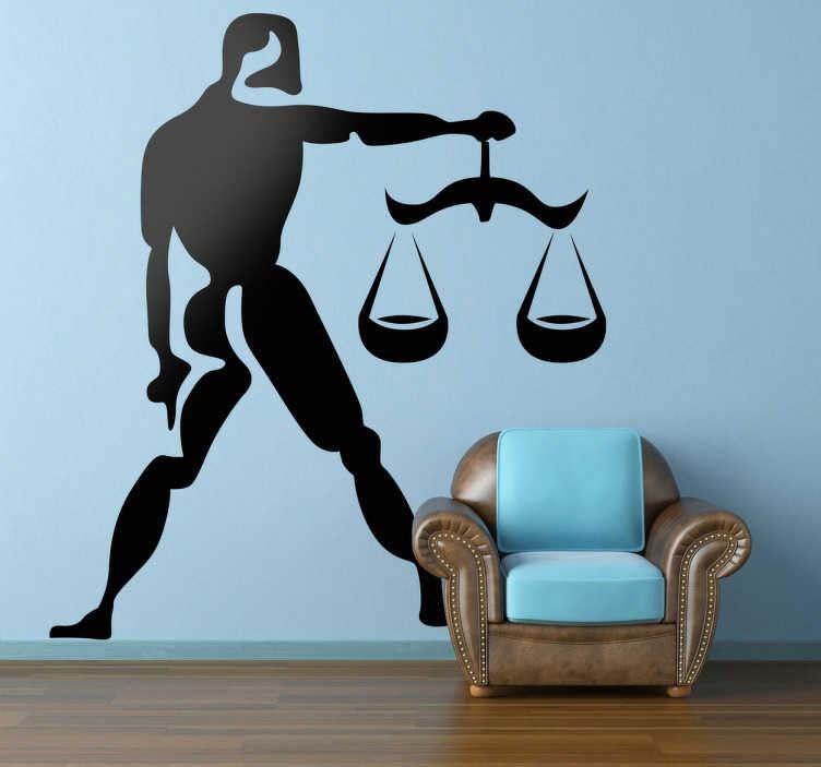 TenStickers. Naklejka znak zodiaku waga. Naklejka dekoracyjna na ścianę z siódmym znakiem astrologicznym zodiaku. Obrazek reprezentuje wagę w oryginalnej odsłonie.