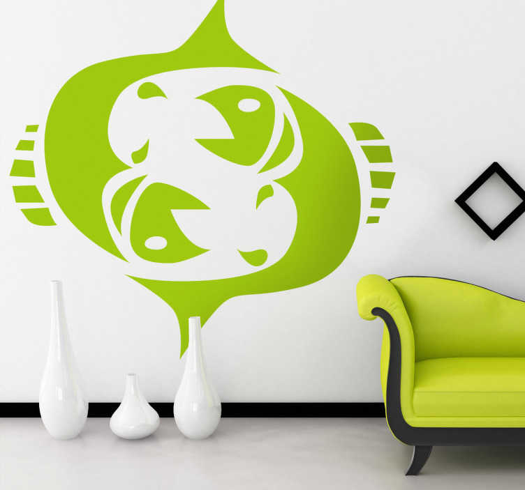TenStickers. Naklejka znak zodiaku ryby. Naklejka dekoracyjna z dwunastym znakiem astrologicznym zodiaku. Obrazek reprezentuje dwie ryby. Stwórz oryginalny wystrój w Twoim salonie.