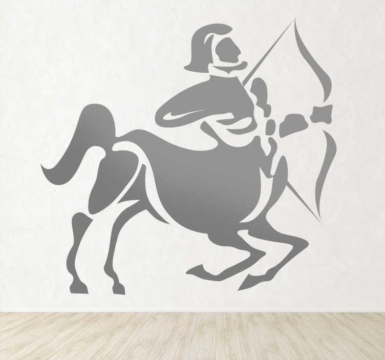 TenStickers. Naklejka znak zodiaku strzelec. Naklejka dekoracyjna z dziewiątym znakiem astrologicznym zodiaku: strzelec. Sprawdź nasze niezwykłe naklejki na ścianę znaki zodiaku.