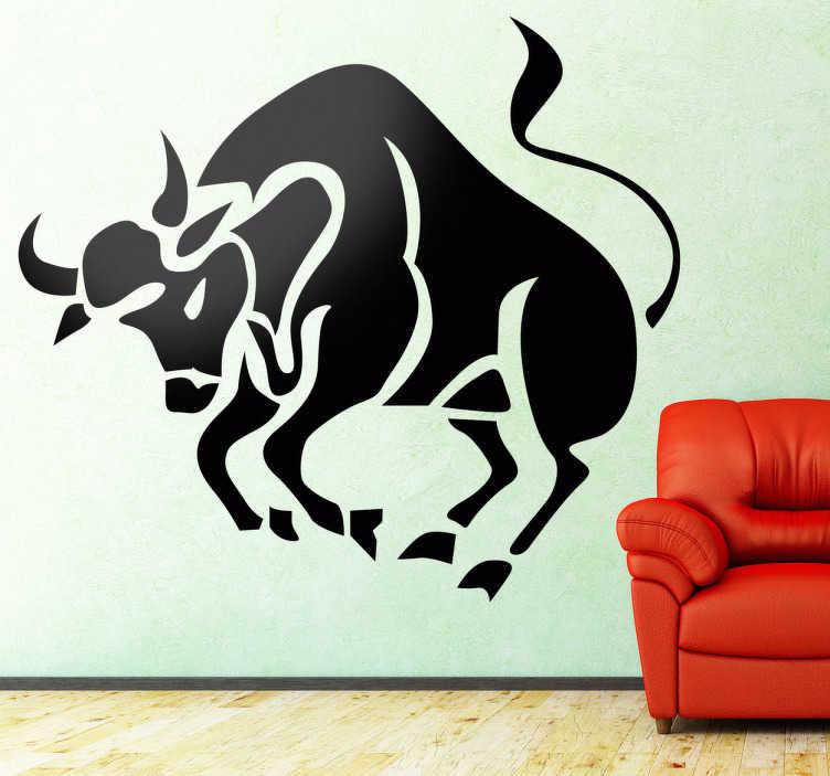 TenStickers. Naklejka znak zodiaku byk. Naklejka na ścianę przedstawiająca znak astrologiczny reprezentowany przez byka. Obrazek dostępny jest w różnych rozmiarach oraz w szerokiej gamie kolorystycznej.