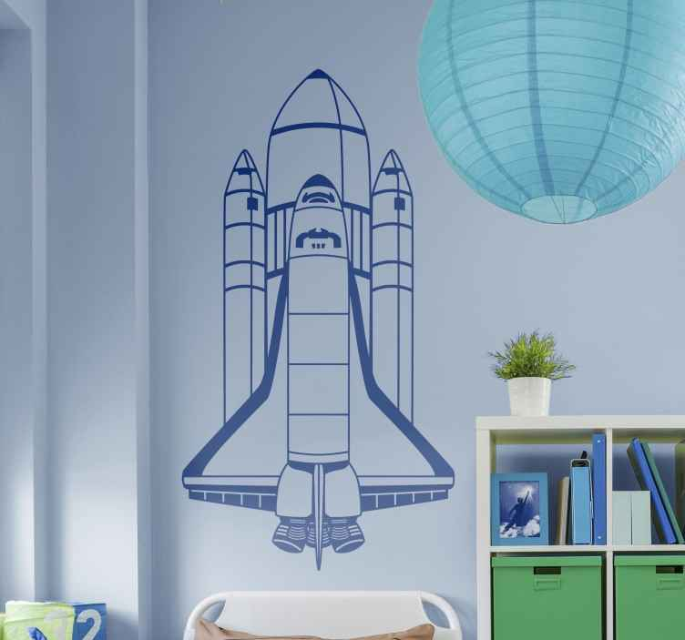 TenStickers. Naklejka dla dzieci statek kosmiczny rakieta. Twoje dziecko marzy aby zostać astronautą? Naklejka przedstawia zielony statek kosmiczny, zmierzający w przestrzeń kosmiczną.