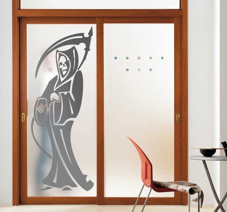 TenStickers. 死神墙贴. 可怕的墙贴,描绘了死亡天使,死神。鲜艳的单色贴花装饰您的门或墙壁。