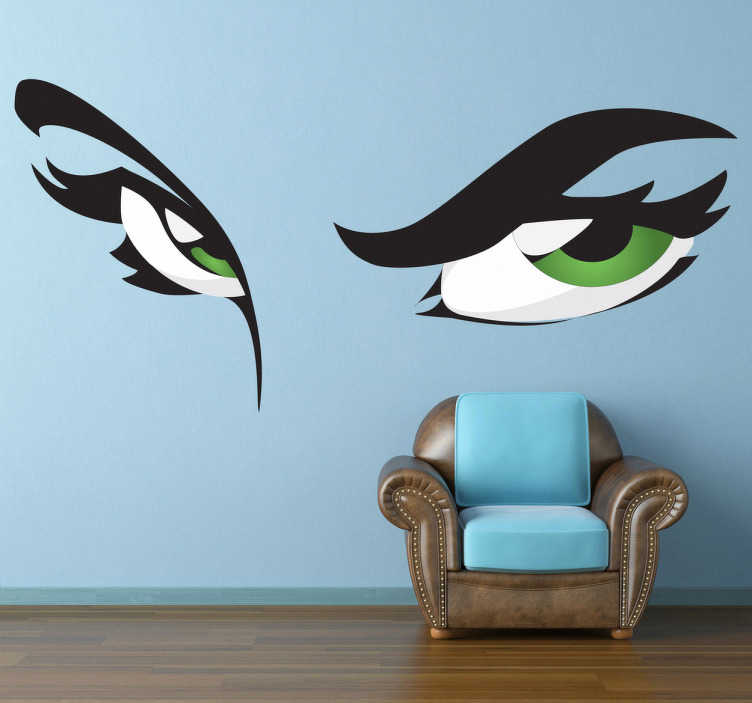 TenStickers. Green Eyes Decorative Sticker. Mysterious sticker with an interesting look for your home. Beautiful green eyes to bring some colour into your home.