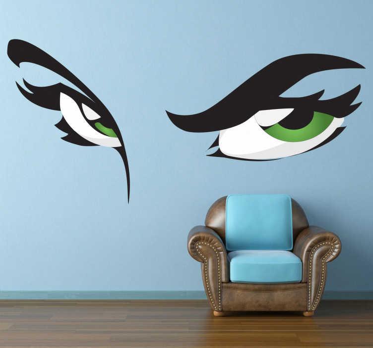 TenStickers. Sticker decorativo occhi verdi. Adesivo murale che raffigura un paio di occhi femminili dallo sguardo assai intrigante. Una decorazione originale per le pareti del soggiorno.