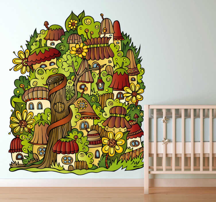 TenStickers. Small Town Wall Sticker. Decals - Illustration of a small enchanted town filled of vegetation and homes. Ideal for kids. Available in a variety of sizes.