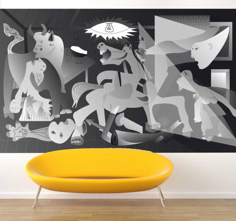 TenStickers. Guernica Picasso Art Sticker. Art sticker of the famous painting by Pablo Picasso: Guernica, which is related to the bombing in Spain during the civil war.