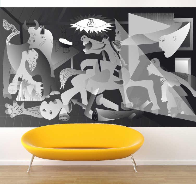 TenVinilo. Vinilo decorativo reproducción Guernica. Adhesivo decorativo del famoso cuadro de Pablo Picasso: Guernica, cuyo título alude al bombardeo de esta población vizcaína durante la Guerra Civil Española.