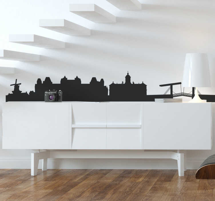 TenStickers. Amsterdam Silhouette Wall Sticker. Wall Stickers - Silhouette design of the city of Amsterdam skyline. Ideal for thos who love the dutch city.