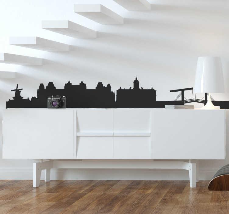 TenStickers. Naklejka panorama Amsterdam. Naklejka na ścianę przedstawiająca panoramę pięknego miasta Amsterdam. Jeśli jesteś miłośnikiem stolicy Holandii nasza naklejka będzie idealna dla Ciebie.