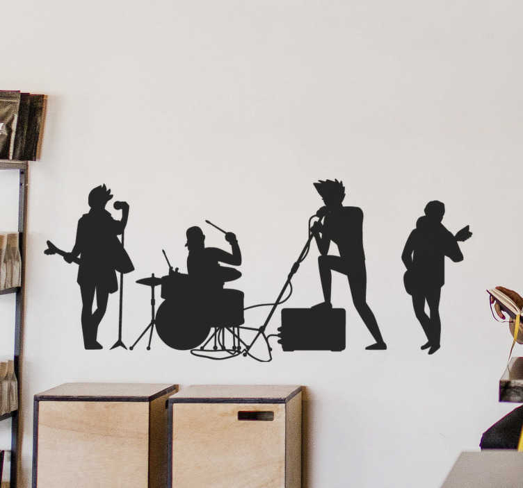 TenStickers. Rock band rock wall sticker. Music wall art decal of a rock n roll band with feature of various people playing instrument. Available in different colours and sizes.Easy to apply.