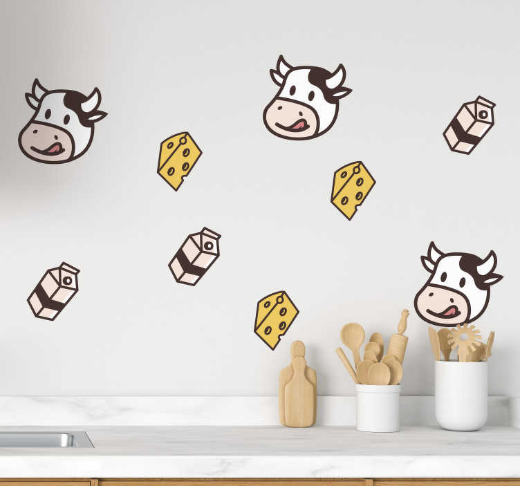 TenStickers. Drawings of milk cow and cheese food wall sticker. Cuisine theme kitchen sticker with farm animal, milk and cheese design. Easy to apply and available in any required size.