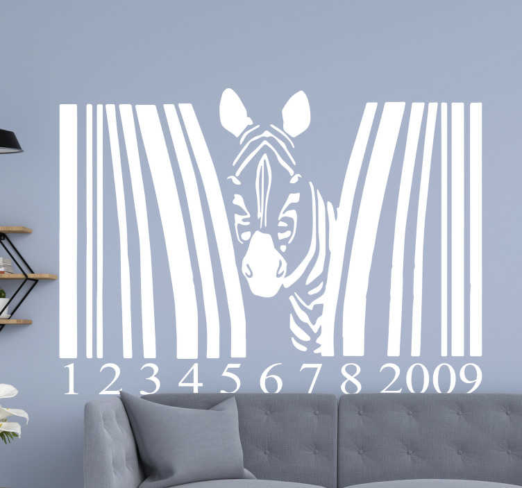 TenStickers. Bar code  with half zebra wild animal sticker. Decorative Zebra animal with bar code wall sticker to decorate a home or any space of choice.  Available in different colours and size options.