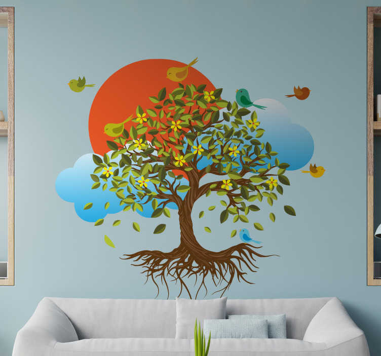 TenStickers. Fallen leaves and birds tree wall decal. Decorative adhesive tree wall sticker with birds around it. Available in any required size. Easy to apply and and  durable.