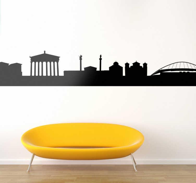 TenStickers. Autocollant mural skyline Athènes. Stickers mural illustrant la vue sur Athènes et de ses principaux monuments.Sélectionnez les dimensions et la couleur de votre choix.Idée déco originale et simple pour votre intérieur.