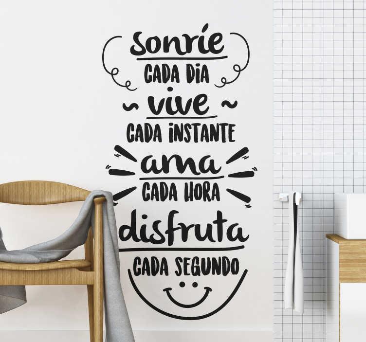 """TenVinilo. Vinilo decorativo frase motivacional sonríe cada día. Vinilo decorativo de texto con frase """"sonríe cada día, cada instante, ama cada hora, disfruta cada segundo"""" en un estilo precioso ¡Envío gratuito!"""