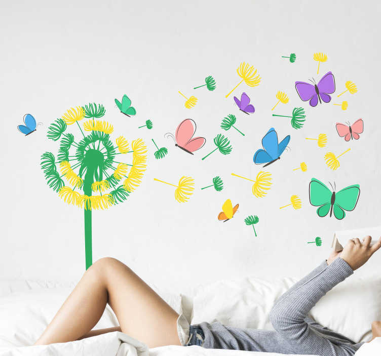 TenStickers. Dandelion flying with butterflies butterfly wall sticker. Decorative colorful dandelion flower with flying butterflies wall sticker to beautify the home. Easy to apply and self adhesive.