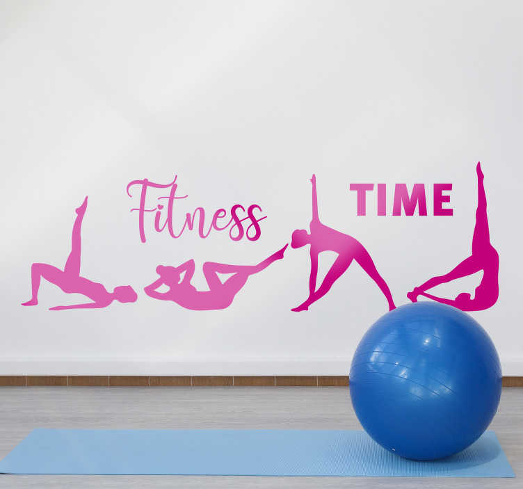 TenStickers. Exercises with phrase fitness time wall decal. Decorative exercise wall decal for business places and homes. It has the design of different exercising positions in  silhouette.