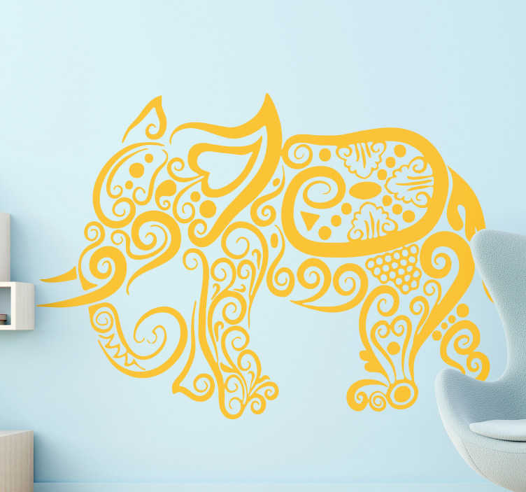 TenStickers. Elephant drawings wild animal sticker. Abstract wall sticker designed with an ornamental flower patterned formed in a shape of a wild animal. Available in different colours and size.