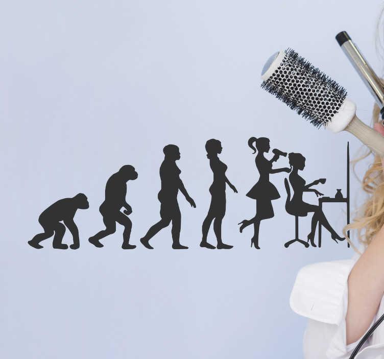 TenStickers. Sticker di evoluzione umana. Adesivo da parete per saloni di affari il design di una forma di storia evolutiva di un parrucchiere. Disponibile in diversi colori e dimensioni.