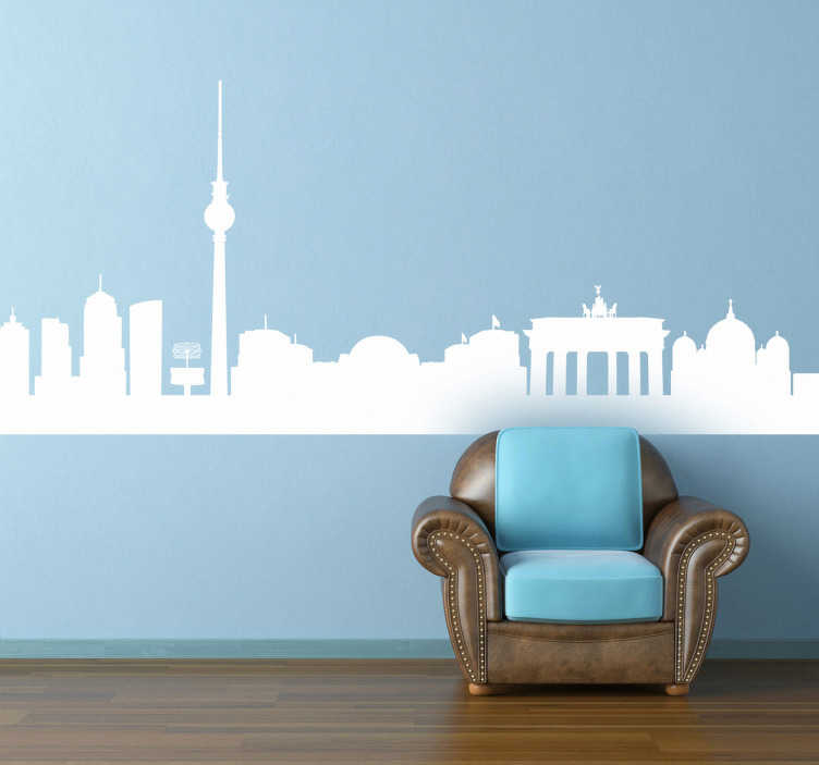 TenStickers. Berlin Skyline Wall Sticker. Skyline silhouette wall stickers - Silhouette design of the Berlin skyline for those love the German capital. Great for decorating your living room or bedroom.