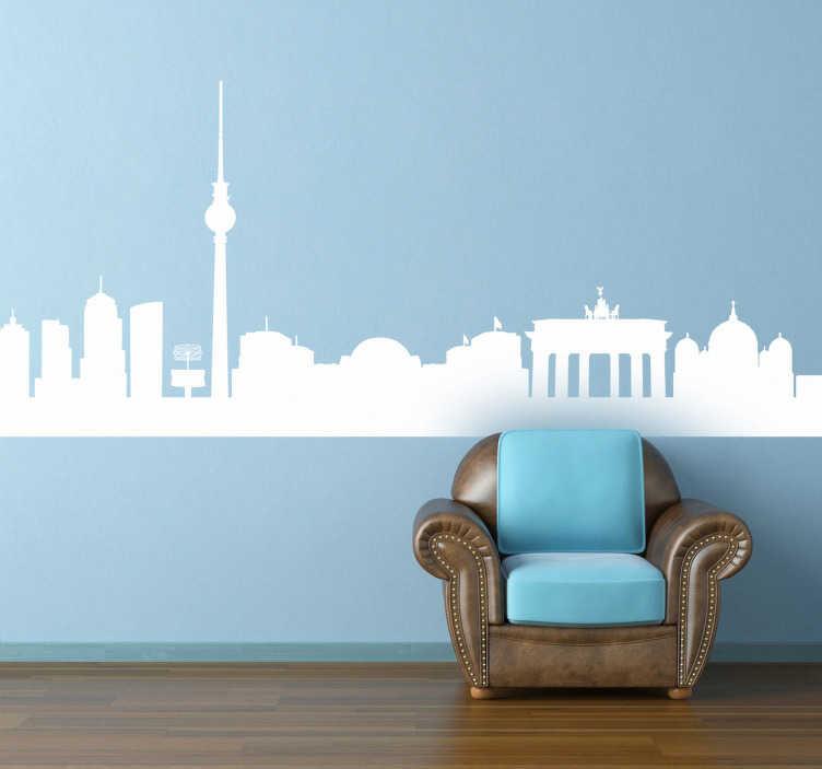TenVinilo. Vinilo decorativo silueta Berlín. Adhesivo con el perfil de Berlín. La capital alemana, ciudad mundial y un centro cultural y artístico de primer nivel, en la pared de tu salón.