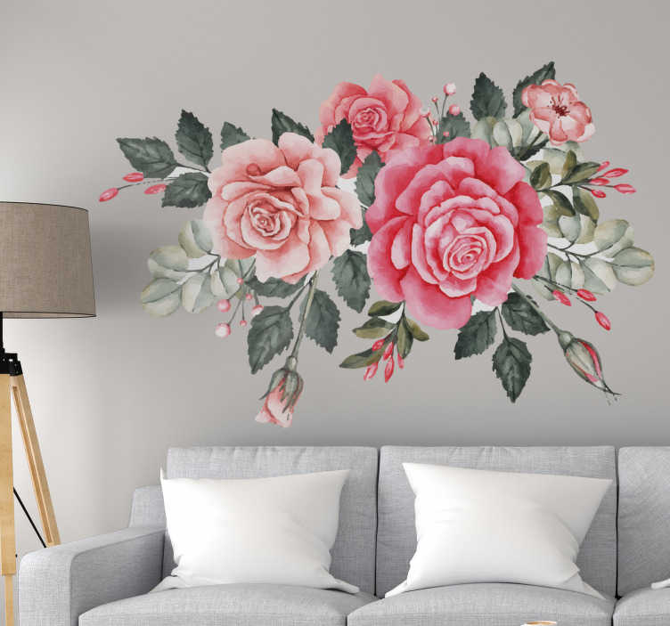 TenStickers. Bouquet of pink flowers wall decal. Decorative bouquet  colorful flower wall sticker for living room and bedroom. Easy to apply and available in any required size.